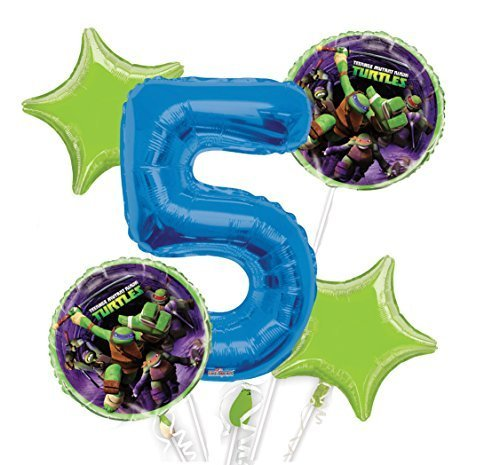 Ninja Turtles Balloon Bouquet 5th Birthday 5 pcs  Party Supplies