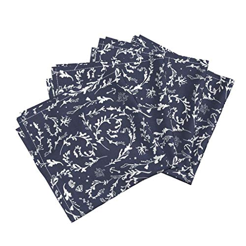 (Roostery Navy Organic Sateen Dinner Napkins Seaweed Navy Modern Nautical Fabrics Seaweed Navy Pirate Shell Anchor Nouveau Bohemain Modern by Nouveau Bohemian Set of 4 Dinner Napkins)