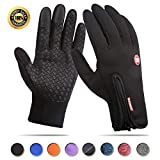 Achiou Touch Screen Gloves for Winter Warm iPhone iPad Bicycling Cycling Driving Anti-Slip Gloves Running Climbing Skiing Outdoor Sports for Men Women(Black,M)
