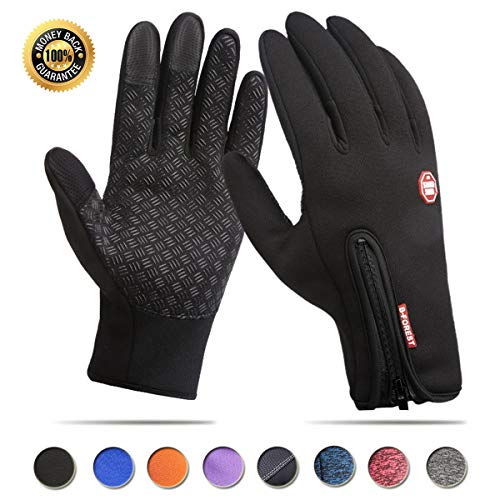 Achiou Touchscreen Gloves for Winter Warm iPhone iPad Bicycling Cycling Driving Anti-Slip Gloves Running Climbing Skiing Outdoor Sports for Men Women(Black,L) ()