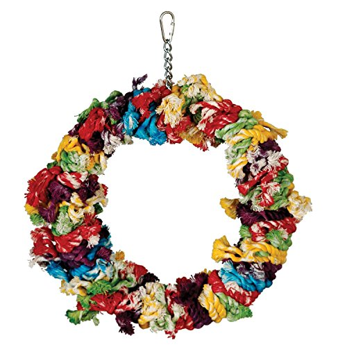 Paradise Toys Cotton Preening Ring, Colorful and Entertaining, Large, 15