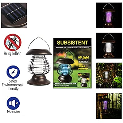 SUBSISTENT Solar Powered Outdoor Killer Lamp Mosquito Repellent Bug Insect Killer Trap Night Lamp Zapper-In-Disk Ground Lights (Bronze)
