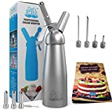 Whipped Cream Dispensers - Comes with 4 Stainless Steel Injector Tips and 3 Stainless Steel Decorating Nozzles/A fancy Booklet of 100 Recipes/Leak-Free / 1 Pint