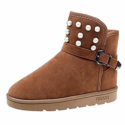 ZHUDJ Damen Schuhe Winter Stiefel Round Toe Mid-Calf Stiefel Pearl Für Casual Braun Grau Schwarz Brown