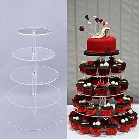 Amazon.com | 5/6/7-Tier Round Cupcake Stand - Wedding Party Acrylic ...