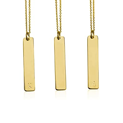 5bcc3e93b460f5 Amazon.com: Bar Necklace Personalized Initial Necklace Initial Vertical Bar  Necklace 18k Gold Plated (14 Inches): Jewelry
