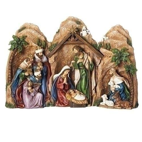 The Grotto of the Nativity 10 inch Nesting 3 Piece Figurine Set (Nativity Grotto)