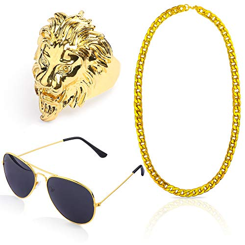 Beelittle 80s 90s Hip Hop Rapper Gangster Costume Kit - Retro Glasses Gold Chain Necklace Gold Plated Hip Hop Ring Accessories Kit (A) -