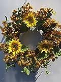 Golden Yellow Berry Summer Sunflower Wreath For Front Door Indoor Decorative Accessory
