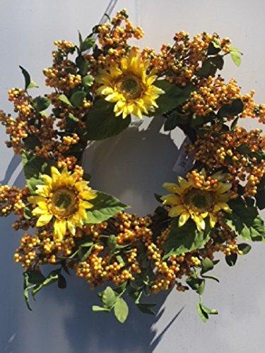 Golden Yellow Berry Summer Sunflower Wreath For Front Door Indoor Decorative Accessory by Wreaths For Door