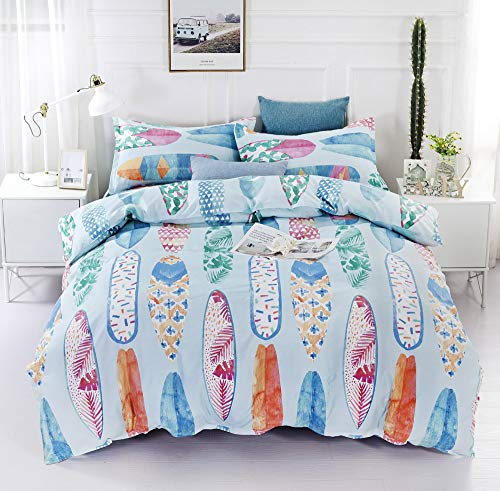 HTgroce Bedding Duvet Cover 2 Piece Set - Ultra Soft and Lightweight Brushed Microfiber Home/Hotel Collection with Zipper and Pillow Shams,Surfboard,Twin (Pillows Surfboard)