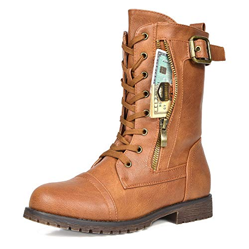 DREAM PAIRS Women's New Mission Camel Combat Mid Calf Boots Size 11 B(M) US (Best Wide Calf Boots 2019)