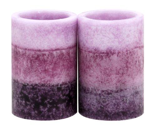 Kiera Grace 2 by 3-Inch Tri-Layer LED Pillar Candles, Mini, Lavender Cashmere Fragrance, Set of 2