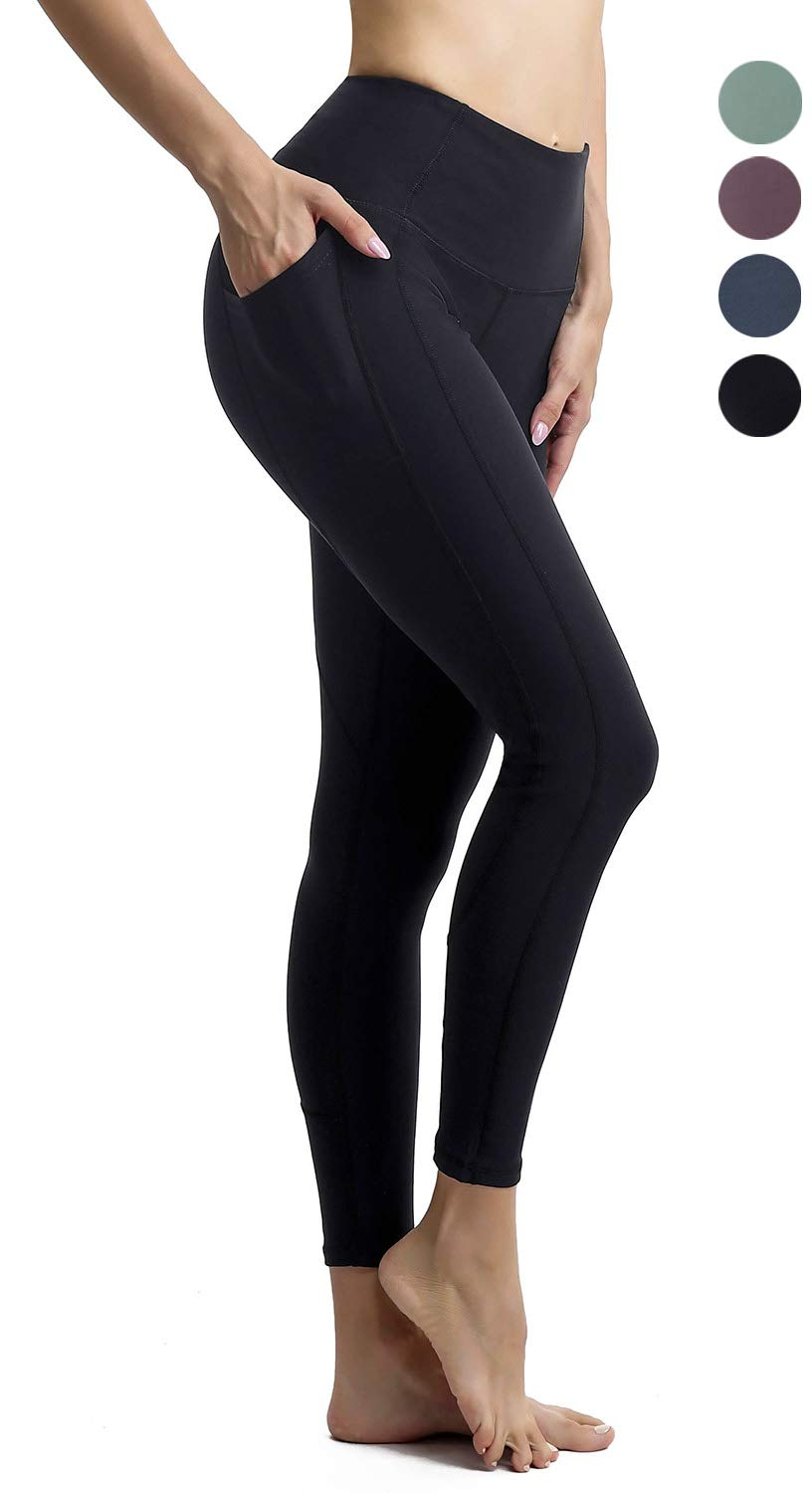 Persit Yoga Pants for Women High Waisted Black Leggings Tummy Control Athletic Running Workout Yoga Leggings with Pockets - Black - M