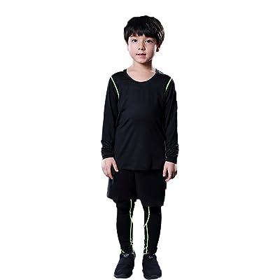 LANBAOSI Boys Girls Basketball Long Sleeve Shirts Tight Leggings Shorts 3PCS Set