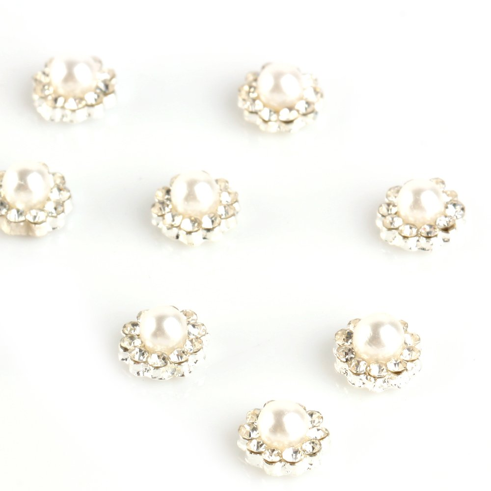 YESURPRISE 10pcs Alloy Nail Art Tips 3D Pearl Style Rhinestone gems ongle Glitters Beads DIY Decoration