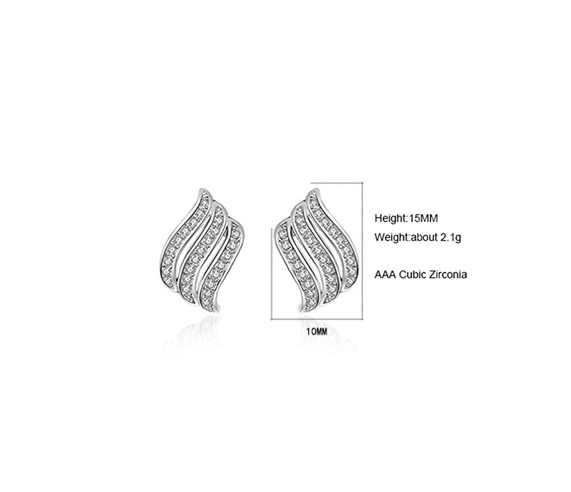 Onefeart White Gold Plated Stud Earrings Angel Wings for Women Girl White Cubic Zirconia 10x15MM Silver