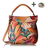 Anuschka Anna Hobo Handbag Hand Painted Design on Real Leather Purse with Purse Holder, Convertible Butterfly Glass Painting