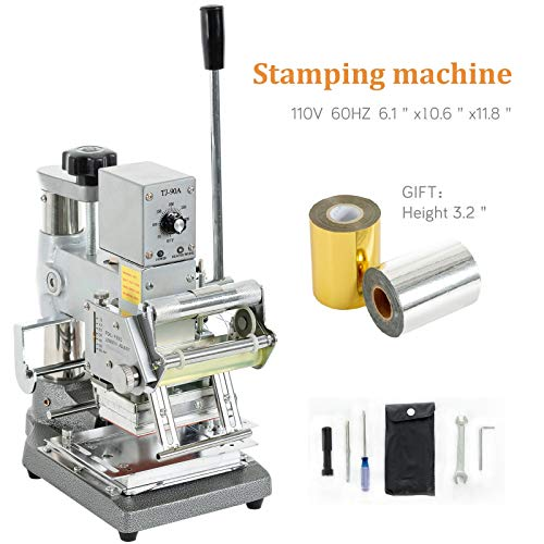 SUNCOO Hot Foil Stamping Machine 2.4'' x 3.5'' Bronzing Machine Embossing Machine Printing Logo for PVC Card, Credit Card with Foil - Stamping Foil Hot Machines