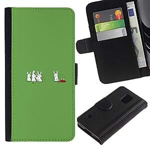 EJOY---Tirón de la caja Cartera de cuero con ranuras para tarjetas / Samsung Galaxy S5 V SM-G900 / --Conejos Caníbal conejito divertido