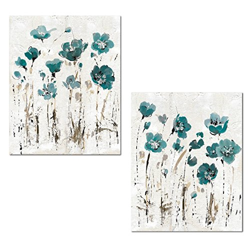 Beautiful Teal and Brown Watercolor-Style Floral Print Set b