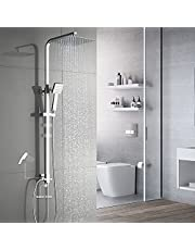 Auralum 2-functies vierkant douchesysteem met handdouche & roestvrij stalen top spray doucheset kan worden aangesloten op badkuip kraan roestvrij staal chroom waterval doucheset doucheset incl.