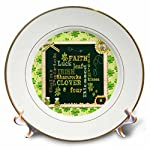 3dRose Beverly Turner St Patrick Day Design - Words, Faith, Luck, Blessed, Leaf, Irish, Shamrock, Saint Patrick - Plates