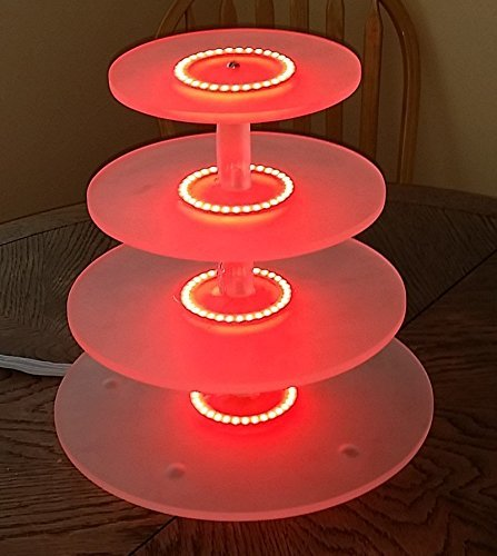 4 tier lighted round acrylic cake cupcake stand with color changing RGB LED