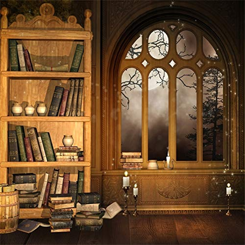 - AOFOTO 10x10ft Vintage Magic Room Photography Background Enchanted Retro Bookcase Backdrop Old Bookshelf Window Hardcover Book Candle Moon Night Girl Boy Portrait Photo Studio Props Vinyl Wallpaper