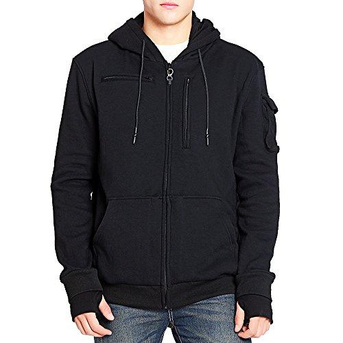 BOMBAX Men Travel Jacket 10 Pocket Zip Up Hoodies Sweatshirt Pillow Eye Mask - Sunglasses Air By Hood