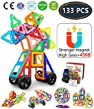 Jasonwell 133 Pieces Creative Magnetic Building Blocks Boys Girls Magnetic Tiles Building Set Preschool Educational Construction Kit Magnet Stacking Toys Kids Toddlers Children