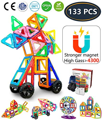 House Under Construction Kit - Jasonwell 133 Pieces Creative Magnetic Building Blocks Boys Girls Magnetic Tiles Building Set Preschool Educational Construction Kit Magnet Stacking Toys Kids Toddlers Children