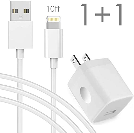 : Extra Long Phone Cable with Wall Charger, 10FT