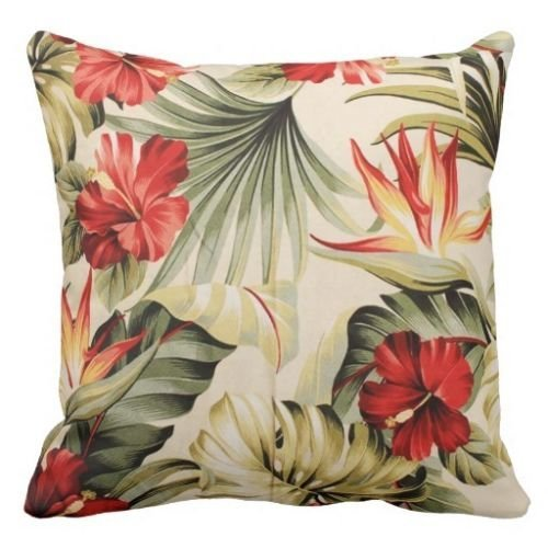 Throw Pillow Case Personalized Home Decor Cushion Cover Pillowcase Hawaii Tropical Flowers print 18 Inch by PatriciaStore