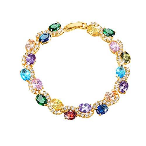 U7 Women Birthstone Crystal Bracelet 18K Gold Plated Round Cut Cubic Zirconia Tennis Bracelet, 7.5 Inches (Mixed Color Stones - 18K Gold Plated Plated)