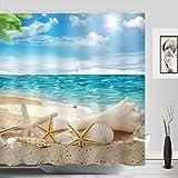 Beach Shower Curtain Sylbapestry Beach Starfish Shower Curtain Fabric Washable Seashell Bathroom Decor Digital Printed No-fade Blue
