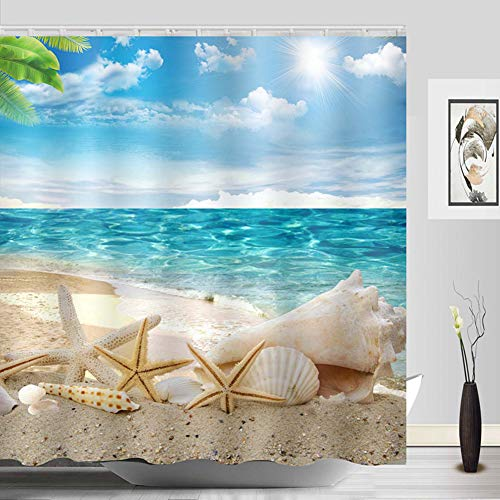 Sylbapestry Beach Starfish Shower Curtain Fabric Washable Seashell Bathroom Decor Digital Printed No-fade Blue ()