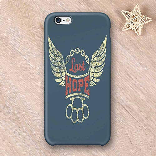 Vintage Printing Compatible with iPhone Case,Grunge Label Wings Chain Brass Knuckles Last Hope Quote for Bikers Compatible with iPhone 6 Plus / 6s Plus,iPhone 6/6s