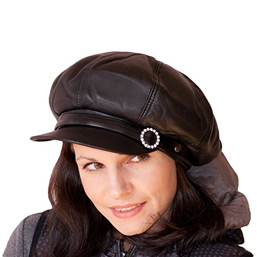 Dazoriginal Womens Big Baker Boy Cap Leather Hat Newsboy Vintage Slouchy  Painter  Amazon.co.uk  Sports   Outdoors b650f9577e5