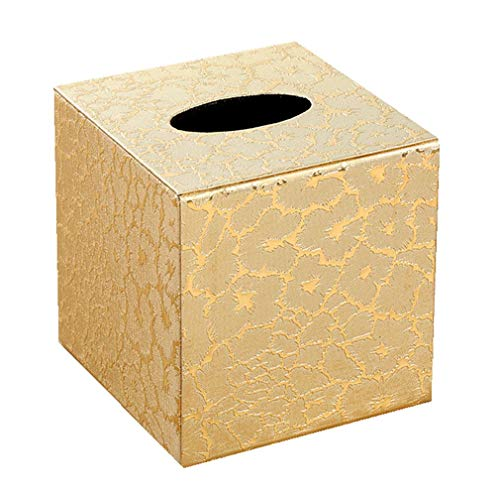 - S Forever Home Decor Chic Kleenex Box Holders PU Leather Square Tissue Box Cover (Gold Lightning)