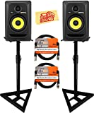 KRK Rokit 5 G3 Studio Monitor Speaker Bundle with Two Monitors, Stands, XLR Cables, and Austin Bazaar Polishing Cloth