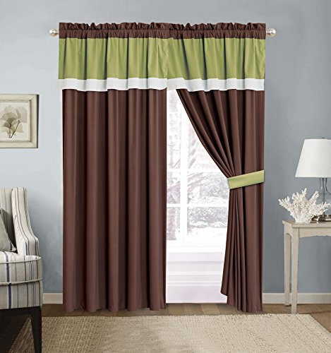Grand Linen 4 Piece SAGE GREEN/BROWN/WHITE Color Block Curtain set with attached Valance and Sheers