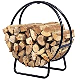 GJH One Firewood Storage Rack Holder Round Tubular Steel Log Hoop Display 2 Feet 24''x 9.8''x 27.6''