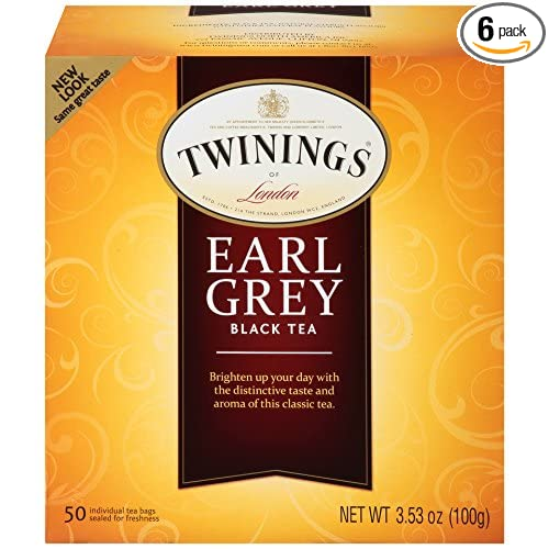 Twinings of London Earl Grey Black Tea Bags, 50 Count (Pack of 6)