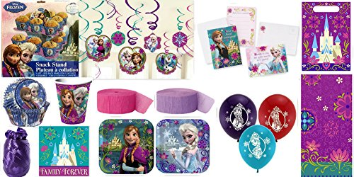 Frozen Party Supplies for 16 Includes Cupcake Stand, Baking Cups, Swirl Decorations, Invites, Plates, Napkins, Cups, Table Cover, Treat Bags, Thank You Postcards, Streamers, Balloons & Curling Ribbon