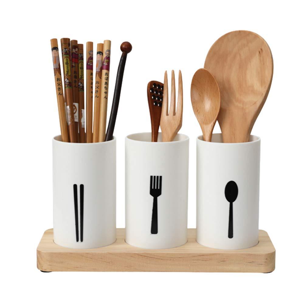 MyLifeUNIT Kitchen Utensil Caddy, Flatware Organizer with Wood Base KT18XH067