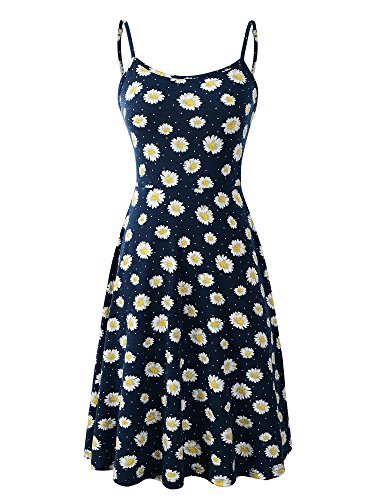 Luckco Women's Sleeveless Adjustable Strappy Summer Floral Flared Swing Dress Small FL-3 ()