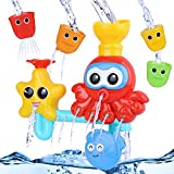 Baby bath toys Set, BBLIKE Water Toys Waterfall Water Station Bathtub Suction Cups Toy with with 4 Cute stacking cups Fountain Water Shower Bath Toy for Baby Kids Toddlers Gift