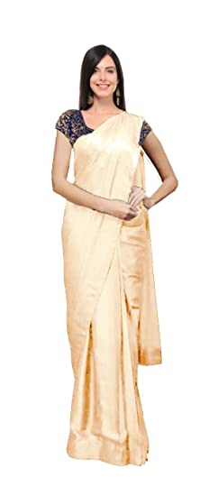 345ad593b Clickedia Women's Satin Silk Shiny Jacquard Brocade Style Saree with Blouse  Piece (Beige)