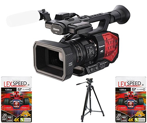 Panasonic AG-DVX200 4K Handheld Camcorder with Four Thirds Sensor and Integrated LEICA DICOMAR Zoom Lens w/ (2x) Two 128GB SDXC 4K HD Memory Cards + Professional Tripod